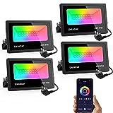 Ustellar Focos LED Inteligentes RGB 25W, 4 Piezas Multicolor Luz de Inundación Exterior...
