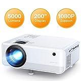 Proyector APEMAN 5000 Lúmen Mini Proyector, Soporte 1080p HD Portátil LED Proyector, Duales...