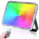 50W Foco LED RGB de Colores, TASINUO Focos LED Exterior IP67 Impermeable con Mando a Distancia,...