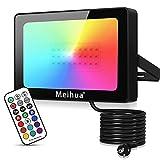 Foco RGB Led 25W con Control Remoto 360 ° Impermeable IP66 Foco LED de 12 Colores + 2 Modos,...