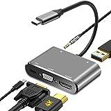 DIWUER USB C a HDMI VGA Adaptador, 5 en 1 Hub Tipo C a HDMI 4K VGA 1080P USB3.0 y PD3.0 Audio...
