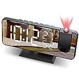 JIGA Despertador Digital Radio FM Despertador Proyector 180° con 7' Pantalla LED de Espejo...