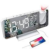 YUNYODA Despertador de proyección, Despertador Digital LED con Superficie de Espejo, Puerto de...
