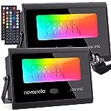 Focos LED RGB Exterior 20W 2 Piezas, Novostella Proyector LED 20 Colores 6 Modos Ajustable,...