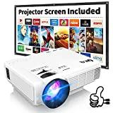 Proyector DR. Q con Pantalla Compatible con 1080P Full HD, Mini proyector de vídeo Compatible...