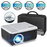 Mini Proyector, FANGOR Video Proyector portátil con Reproductor de DVD,4500Lux proyector de...