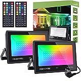 Novostella 60W Focos LED RGB 2 Piezas, Proyector LED 20 Colores y 6 Modos Controlador de 44...