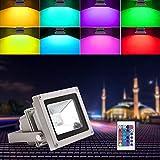 Blinngo 10W RGB Foco LED Proyector de Exterior impermeable IP65 LED Foco de Colores Adaptado...
