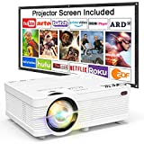Proyector QKK, Proyector Mini con Pantalla de Proyección, Proyector Lumen 3800 de Video...