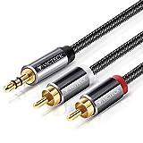 [2M] Cable Audio RCA,Victeck Nylon Trenzado 3,5mm Jack Macho a 2 RCA Macho Conectores Estéreo...