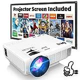 Proyector DR.Q con Pantalla de Proyección, 5000 Lúmenes Proyector de Video Soporta Full HD...
