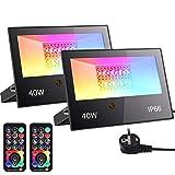 2 Piezas Focos Led RGBW 40W, Frontoppy Focos LED Exterior con Control Remoto, 3500LM, DIY,...