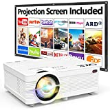 Proyector QKK AK-81 con Pantalla Proyección, 5000 Lumens Proyector Video Soporta 1080P HD,...