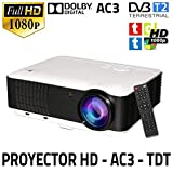 Proyector Unicview HD200, Video Proyector 1080P Full HD, con TDT, USB, HDMI, VGA, AC3,...