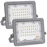 Foco LED OSRAM Gris Slim 30W, Pack 2 unidades, Iluminación Exterior IP65, Proyector Luz Blanca...