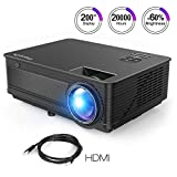 ExquizOn Proyector LCD de 3500 Lúmenes M5 Vídeo Proyector LED 200' Soporta Full HD 1080P HDMI...