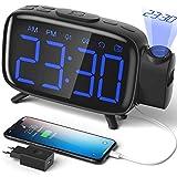 ELEHOT Despertador Digital Proyector Radio Despertador Reloj de Proyección Pantalla LCD Azul y...