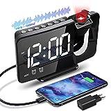 Anykuu Despertador Proyector Función de Radio FM Reloj Despertador Digital con Puerto USB 6.7'...