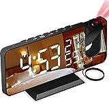Aikove Despertador Proyector, con Función de Radio FM, Pantalla de Espejo LED de 7', Brillo de...