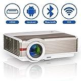 LED LCD Proyector inalámbrico Bluetooth 5000 Lumen WXGA HDMI HD Cine en casa Wifi Proyector...