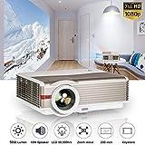 WIKISH Proyector de video LED 1080p, LCD Proyectores de cine para cine en casa digital 5000...