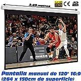 Pantalla de proyeccion Manual Luxscreen 120' Pulgadas Formato 16:9 , área Visible Blanca 264 x...